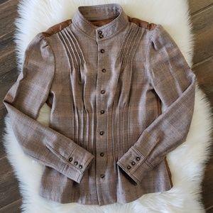 B2G1 Free People Wool Blend Plaid Pleated Blazer